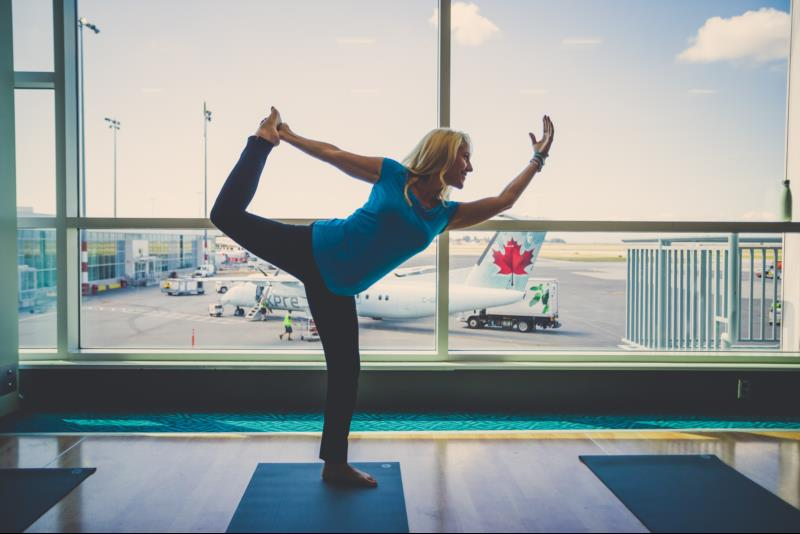 Yoga at the airport