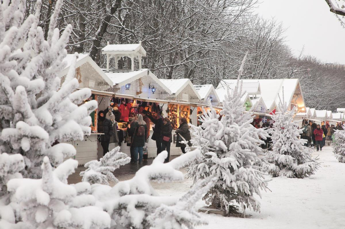 Christmas Market in Paris during winter