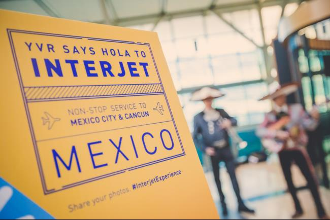 Interjet Airlines poster at Press Conference