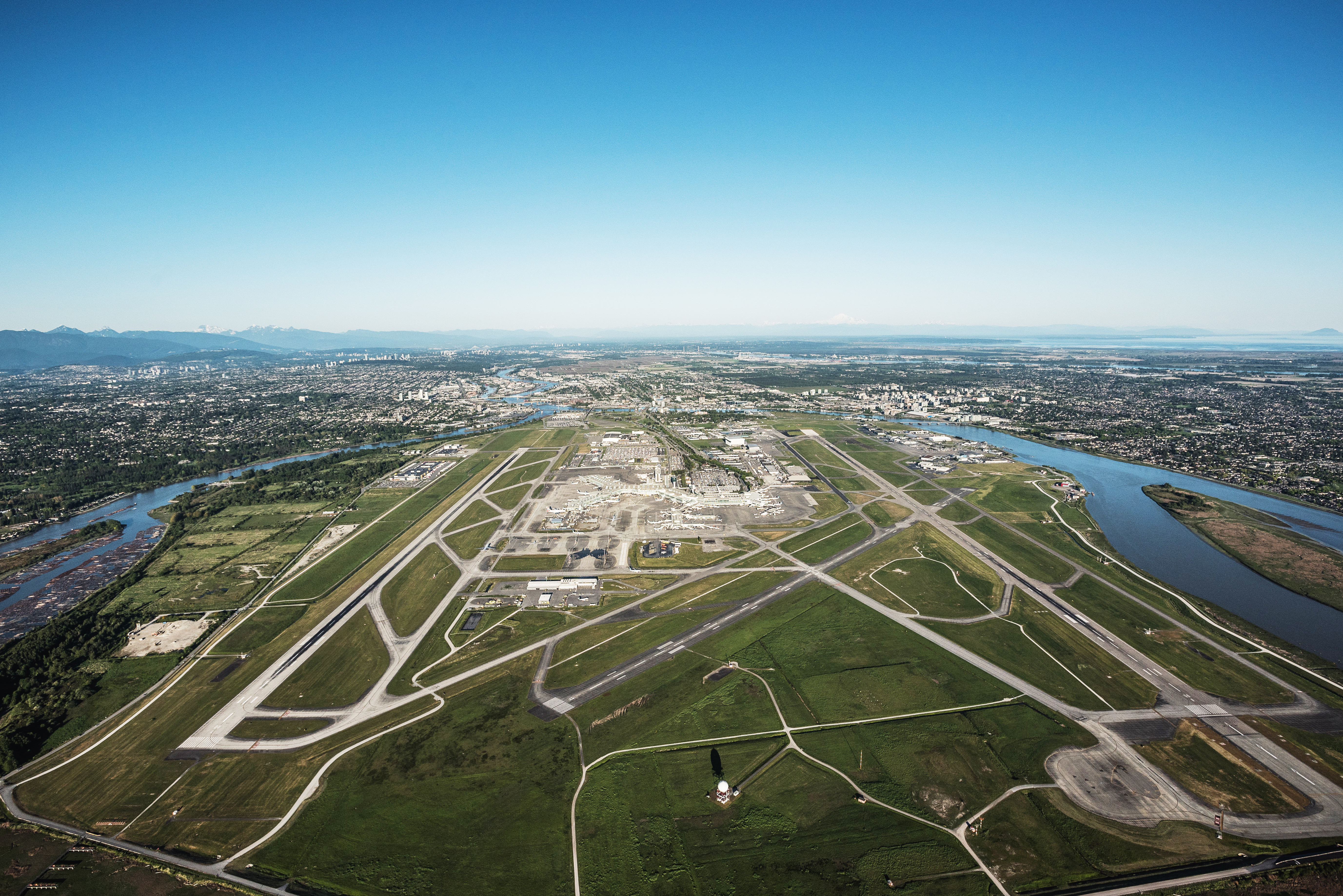 Aerial shot of Sea Island YVR Airport