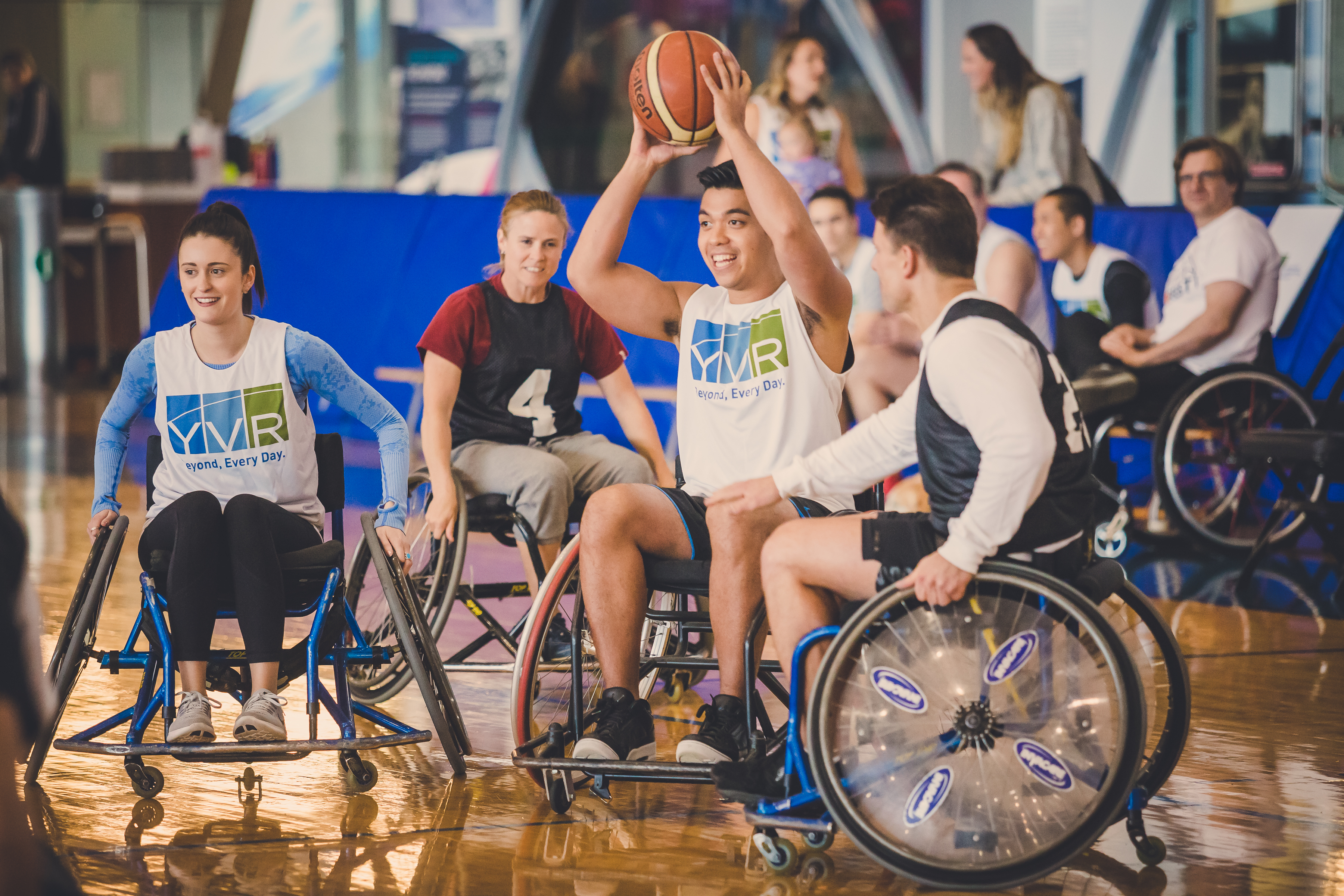 YVR employees playing wheelchair basketball