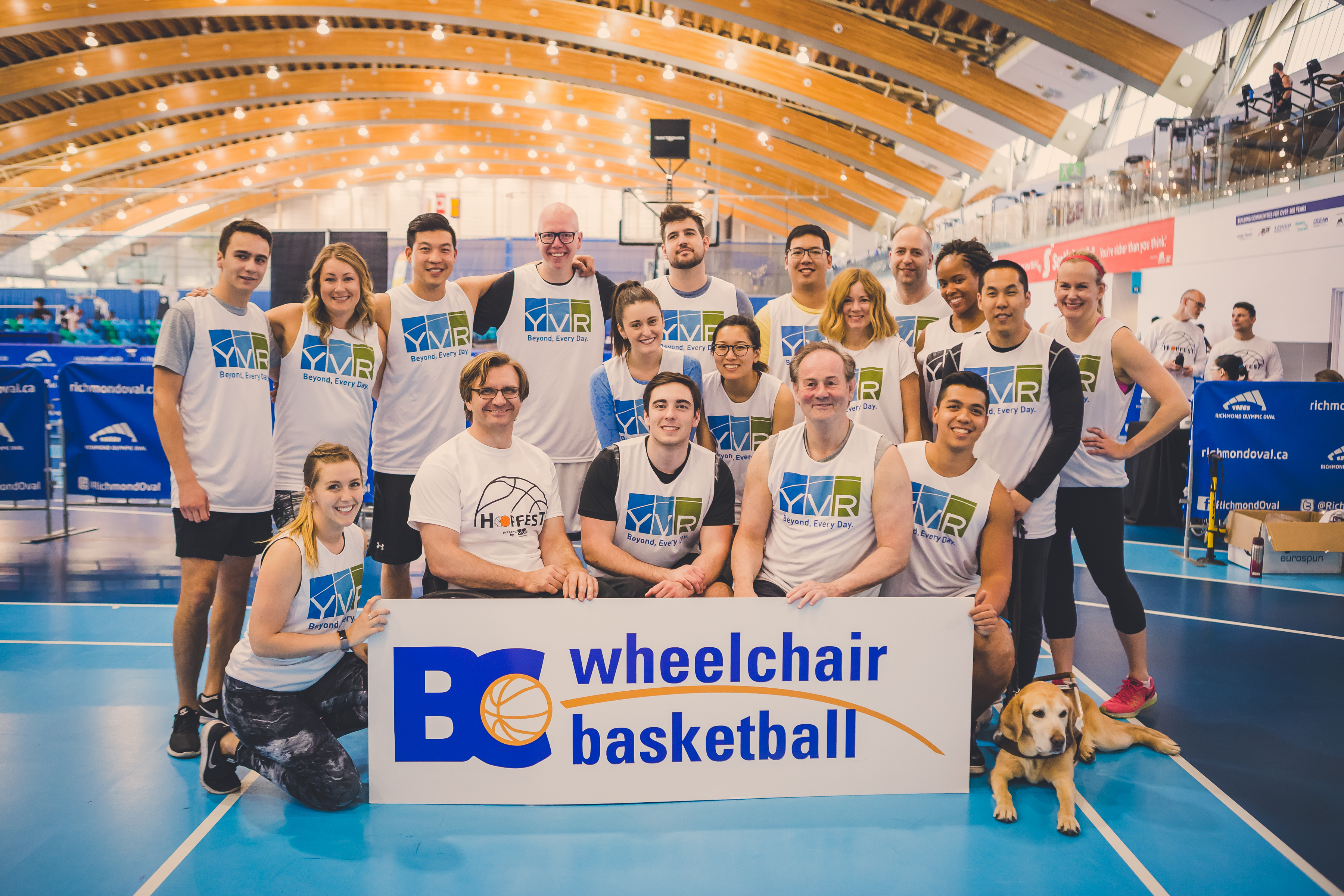Group photo of all YVR employees who participated in Hoopfest
