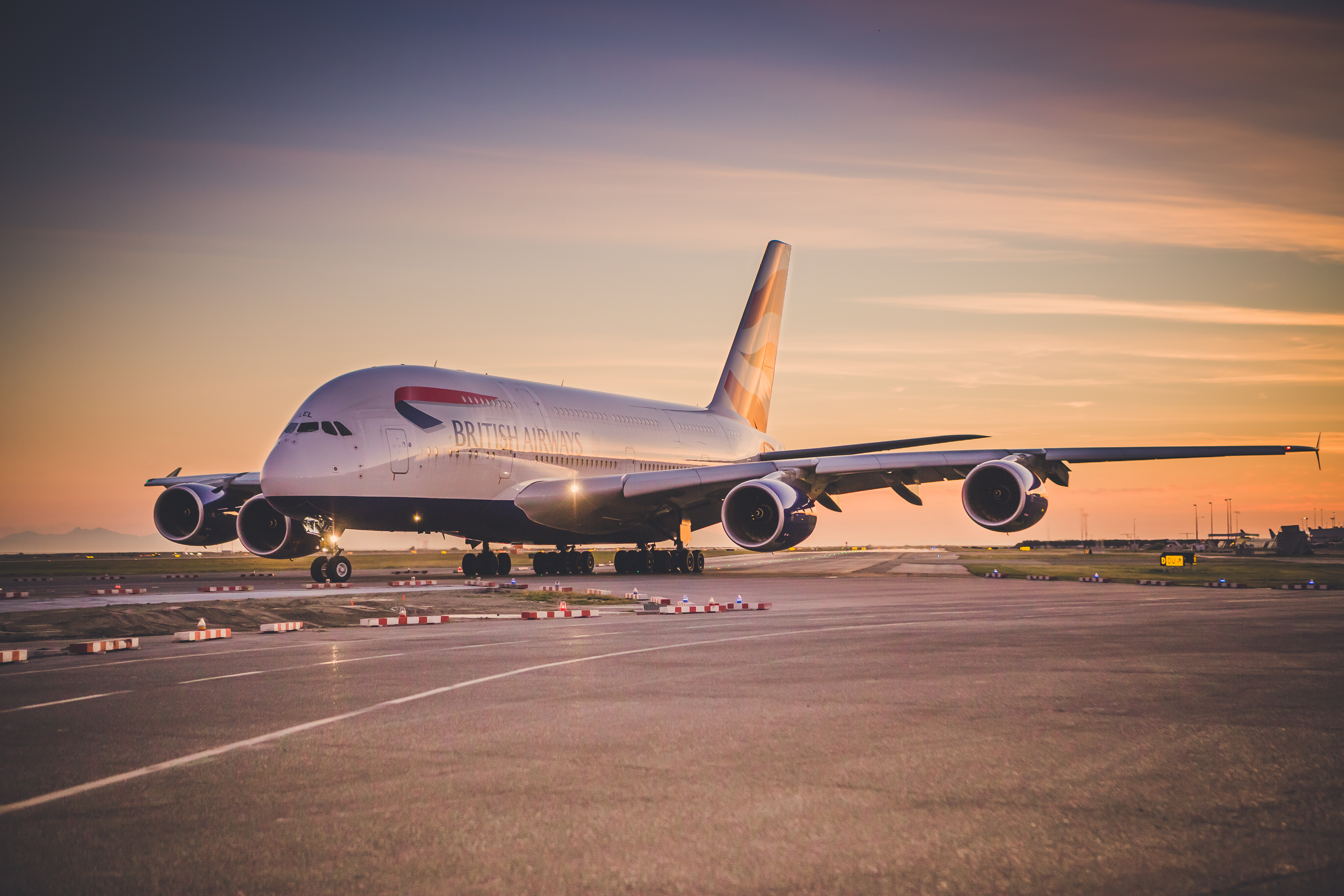 Shot of A380 in the sunset