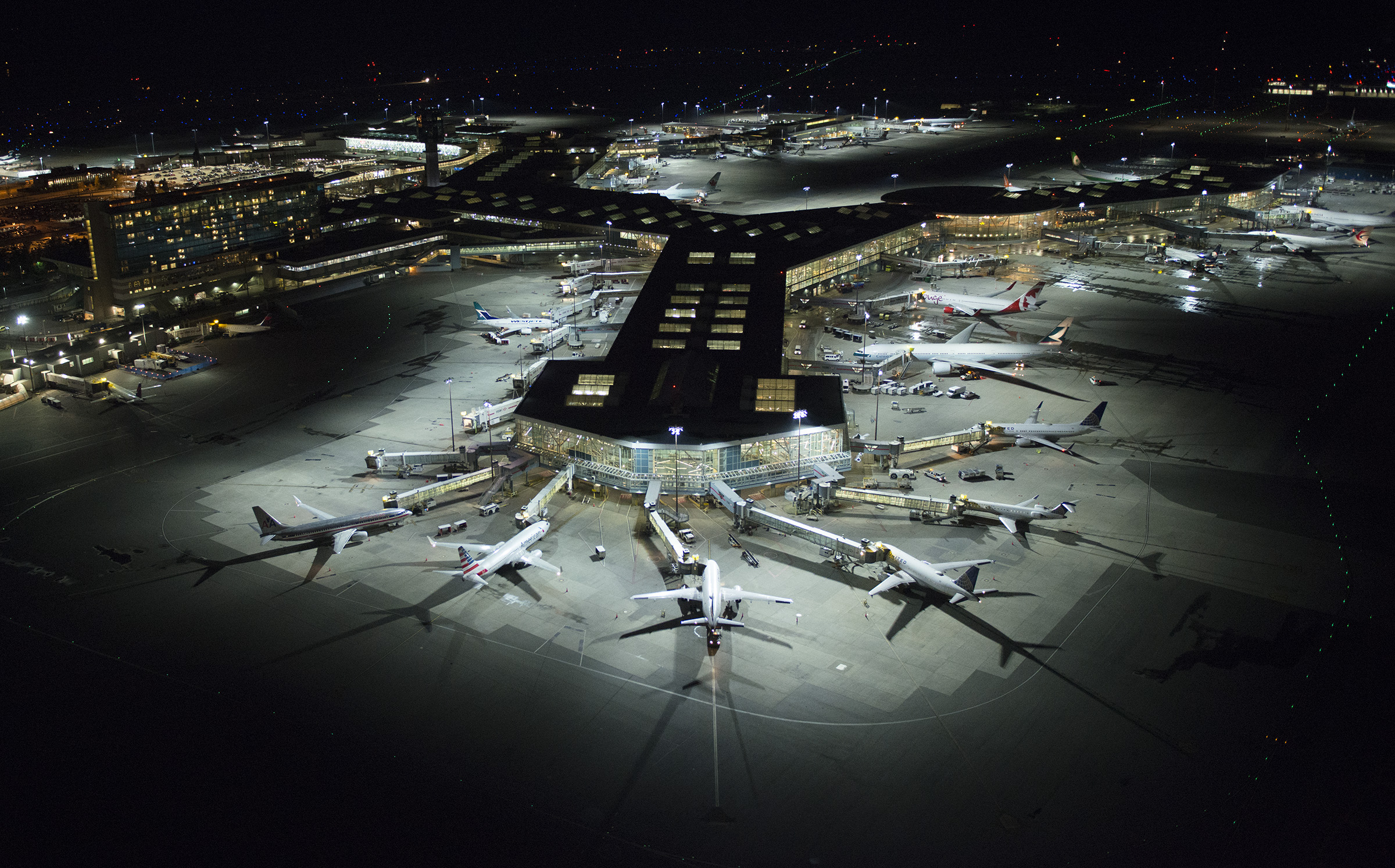 Apron Lighting at YVR at night