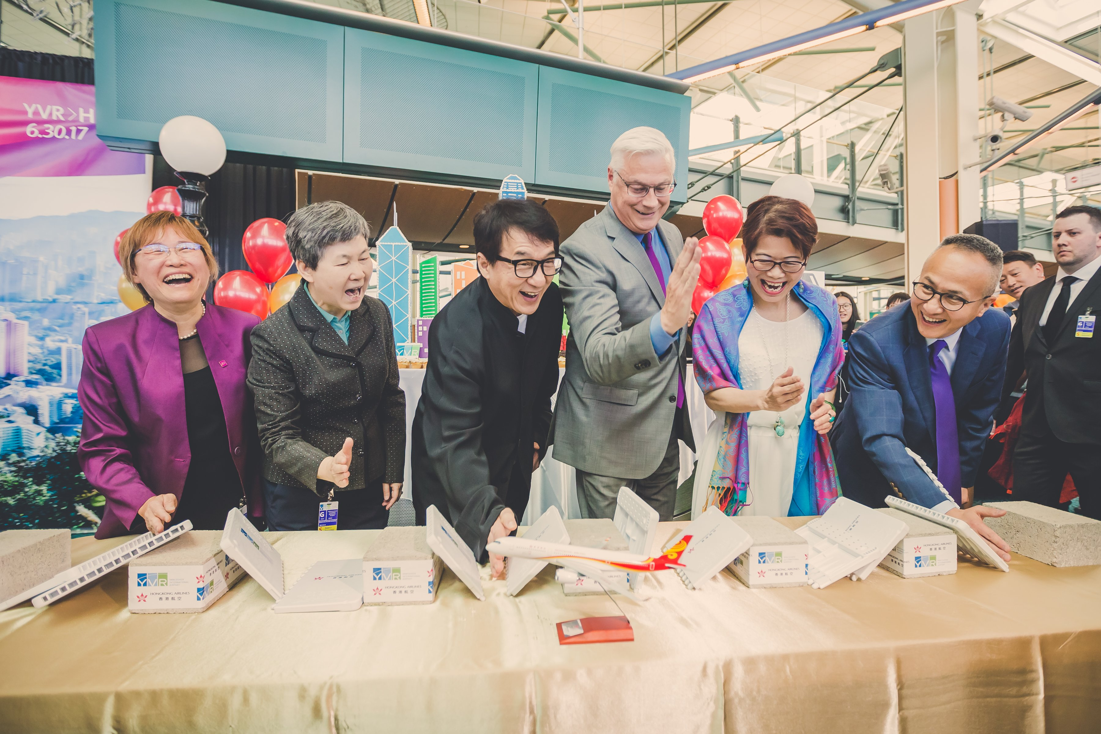 Jackie Chan, YVR CEO Craig and VIPs celebrate Hong Kong Airlines inaugural