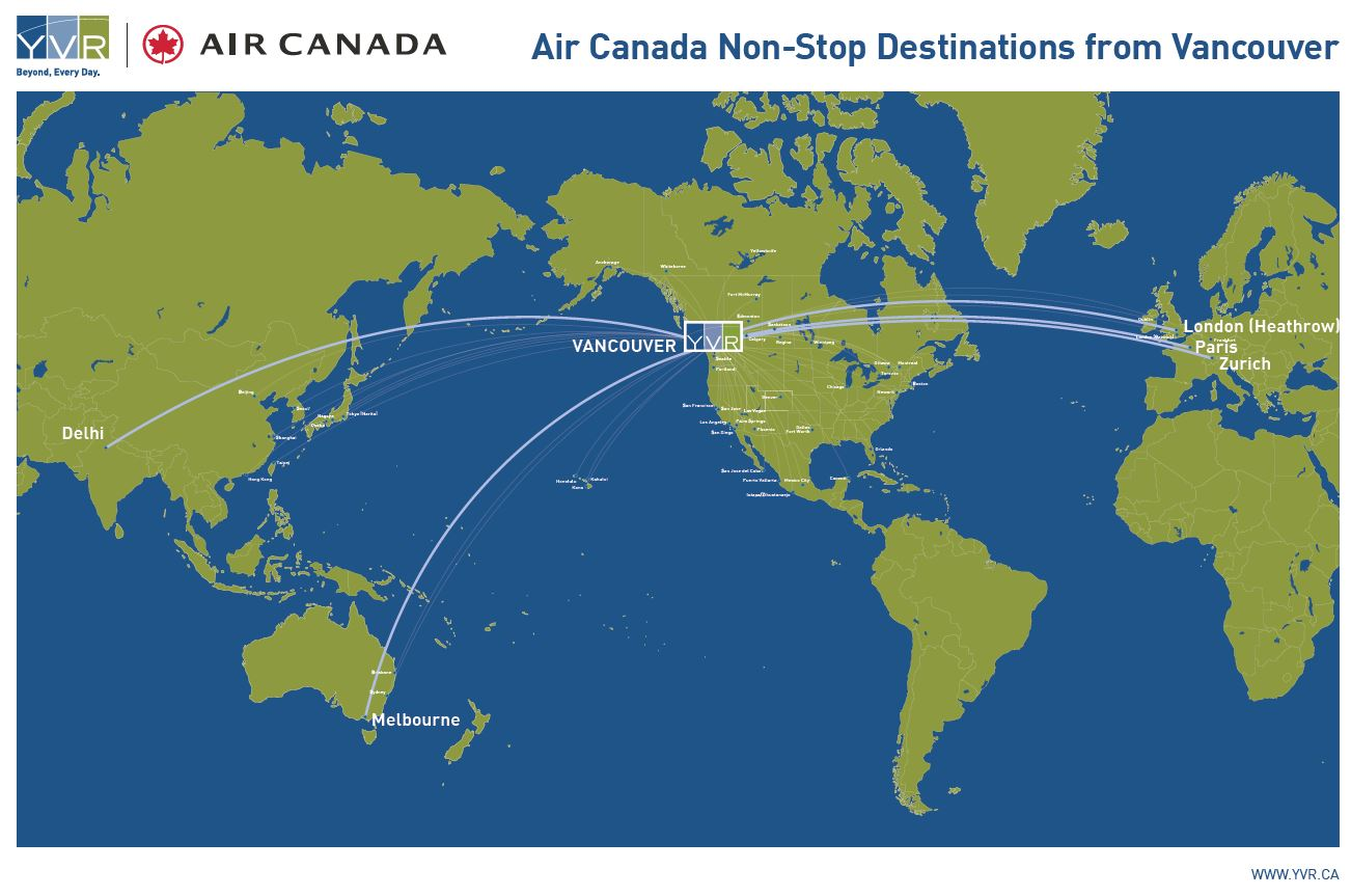 air canada announces major route expansion at yvr yvr. Black Bedroom Furniture Sets. Home Design Ideas