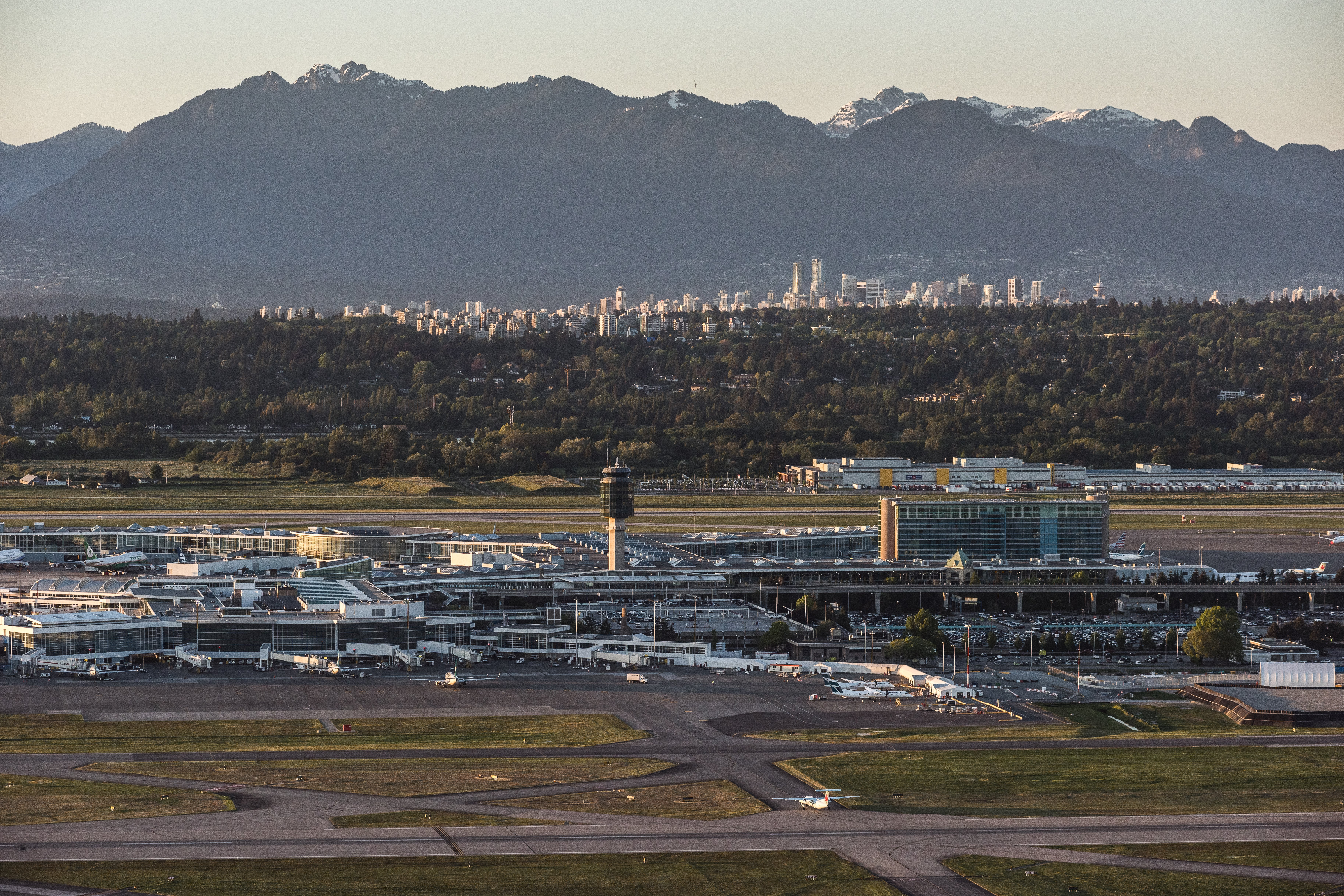 Aerial of YVR at sunset