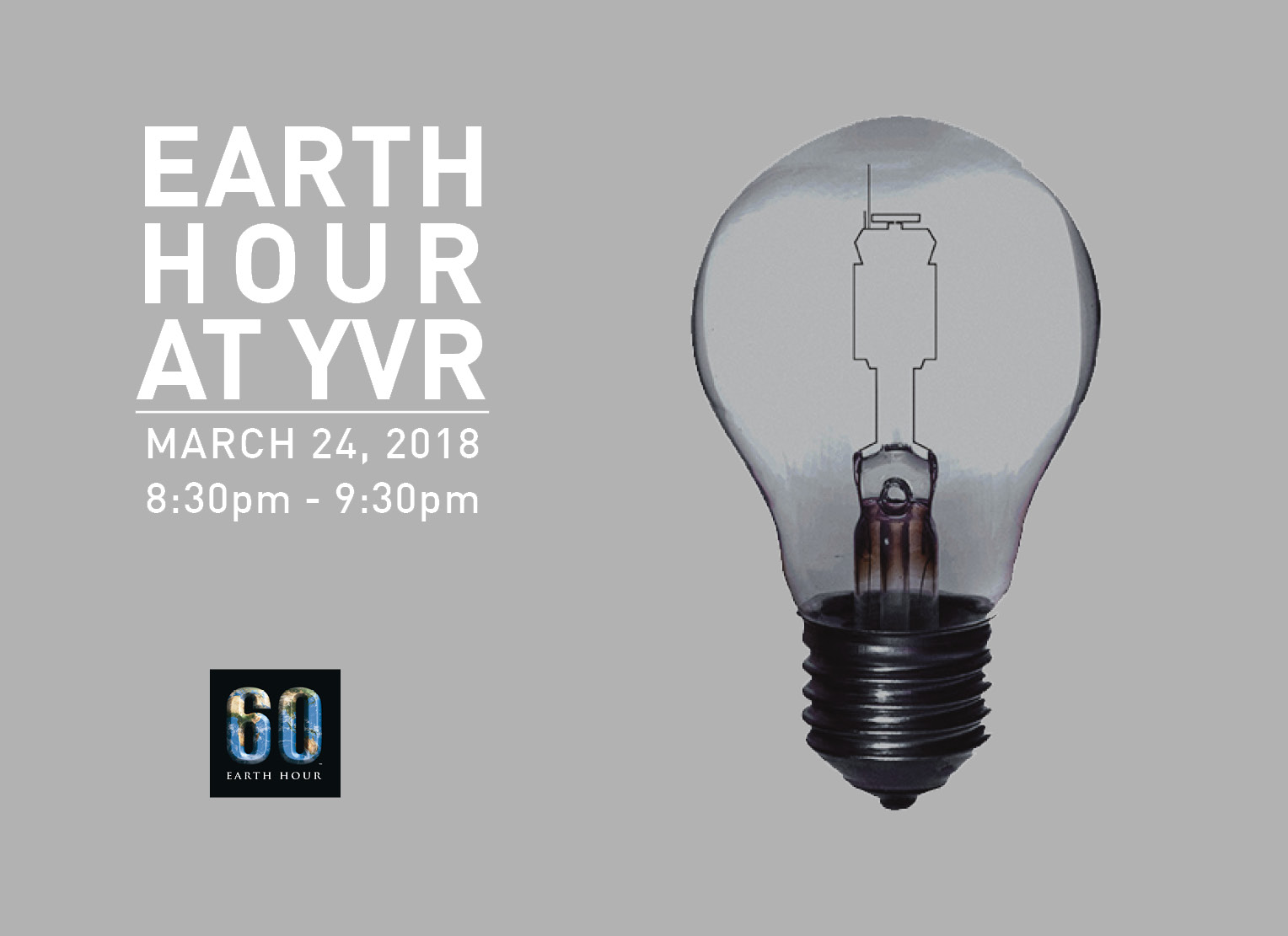 Earth Hour at YVR March 24 2030hrs to 2130hrs