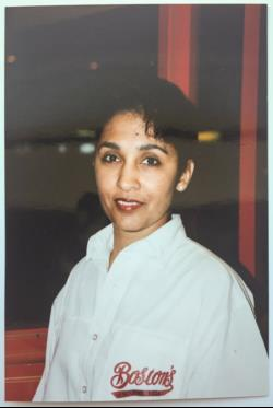Narinder in Boston Pizza uniform