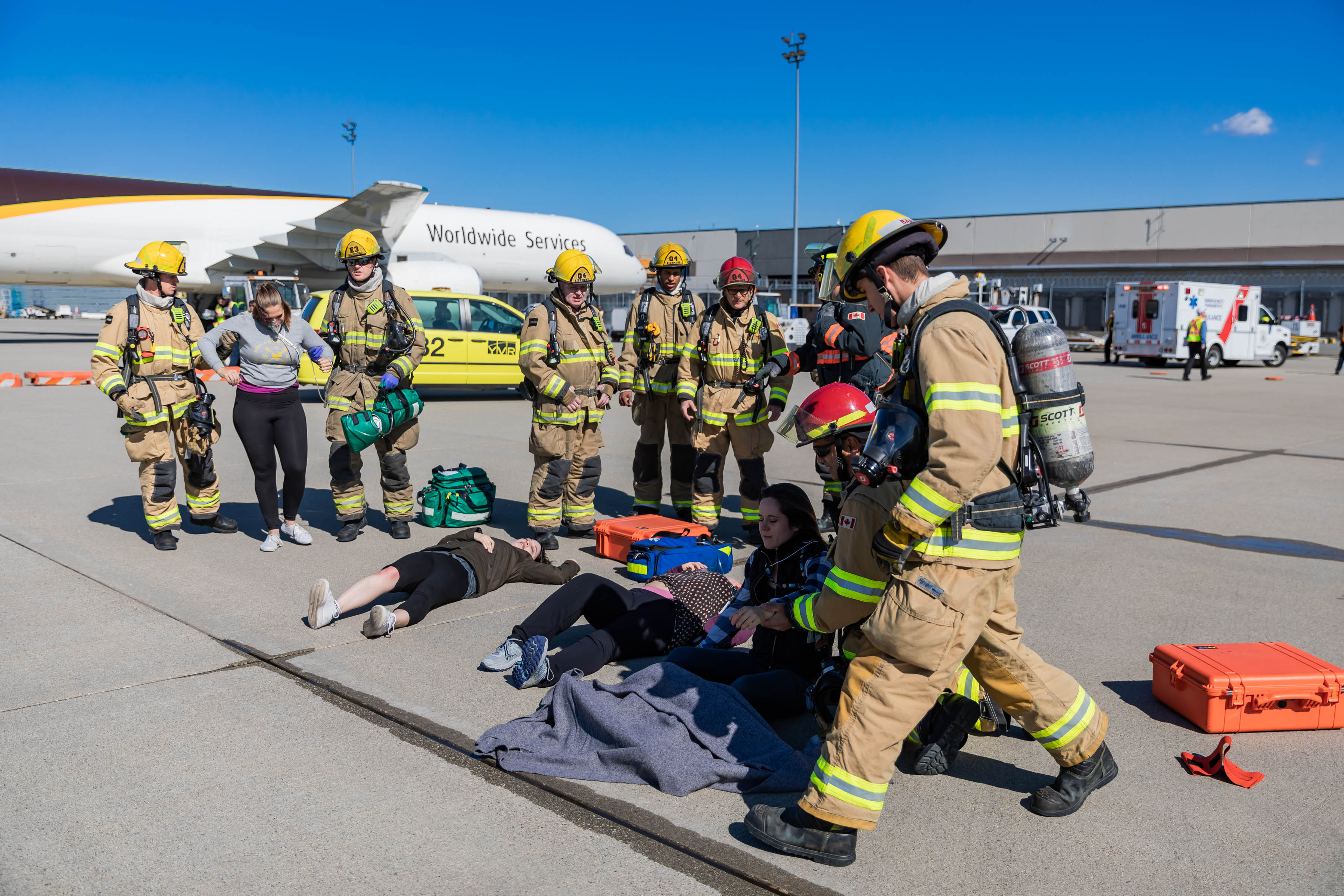 Emergency Responders on the apron in action during the 2019 emergency exercise.