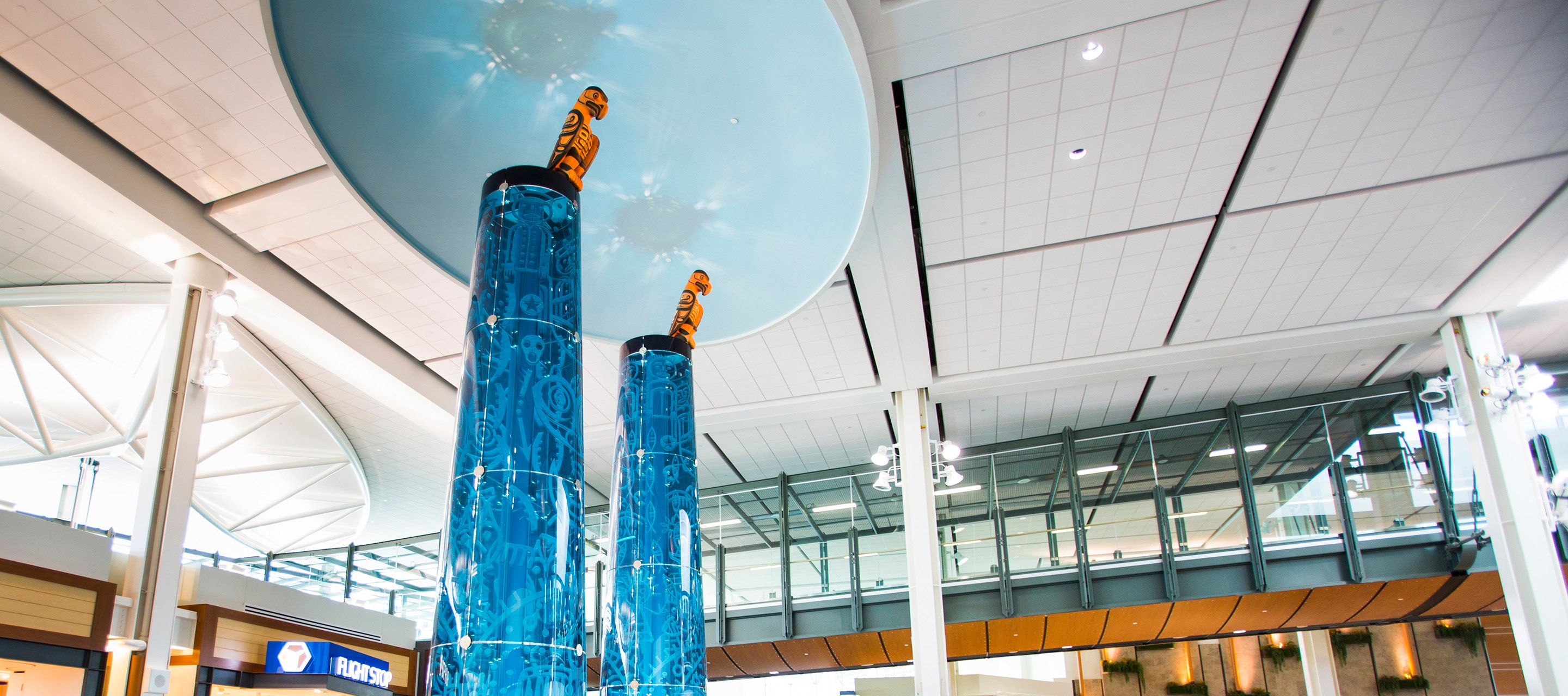 "Image of ""Rivers Monument"" art piece at YVR"