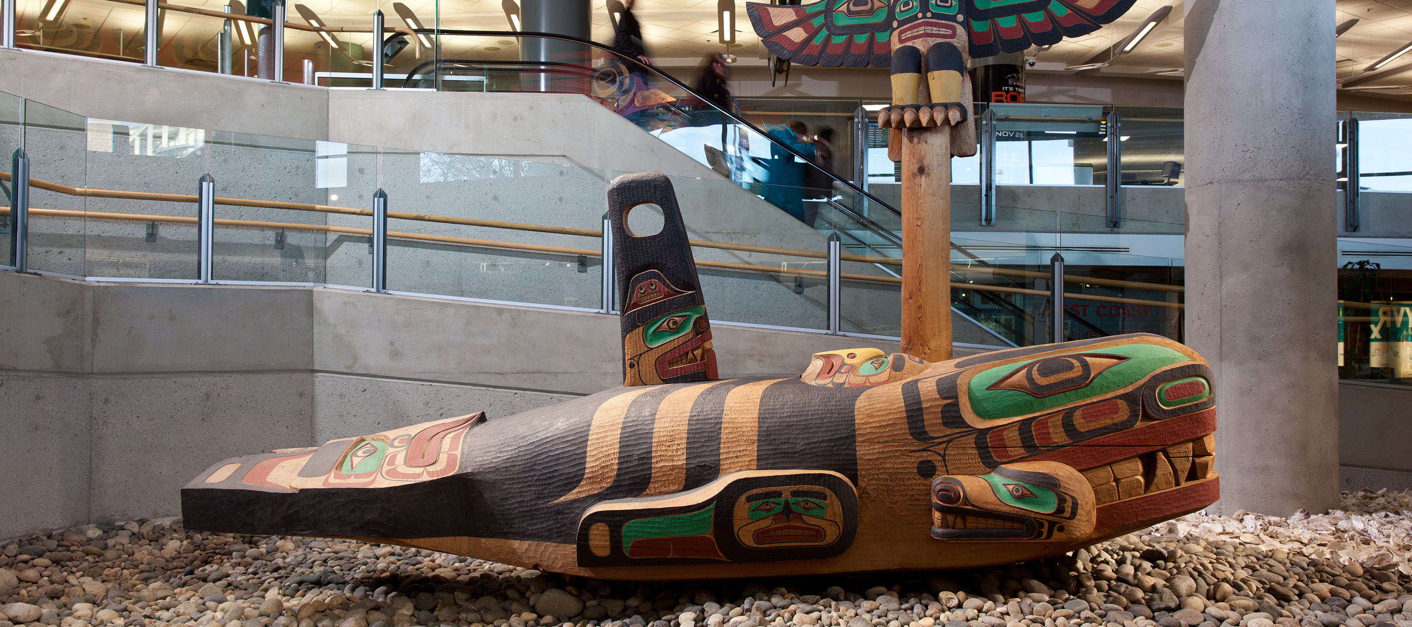 "Image of ""Thunderbird and Killer Whale"" art piece at YVR"