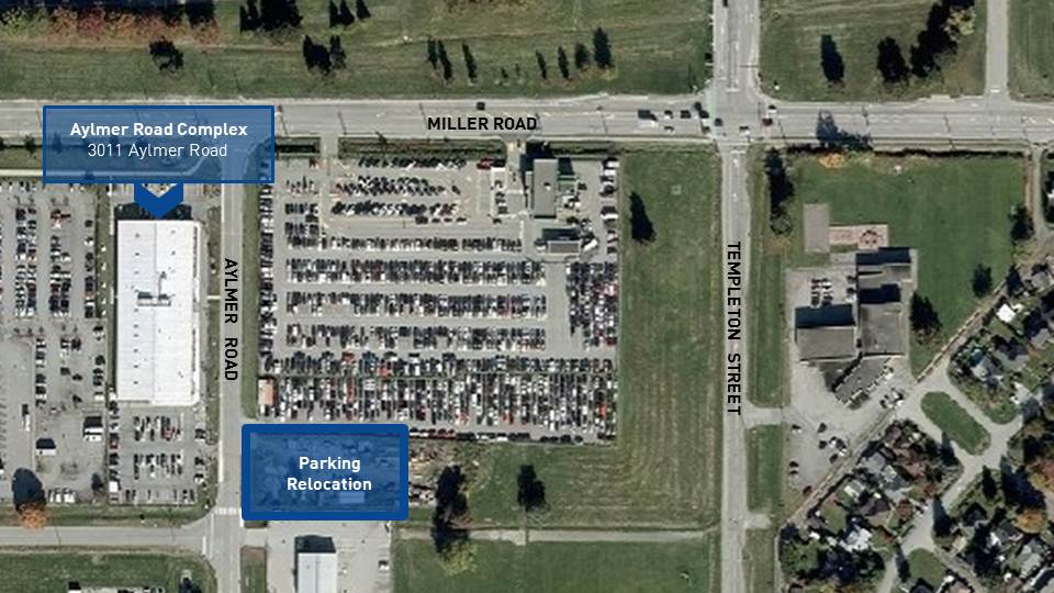Area of YVR Aylmer Road Complex Employee Parking Relocation