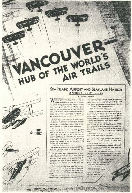 YVR poster to commemorate the opening of the airport in 1931