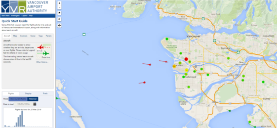 Webtrak for YVR: Real-time noise tracking map