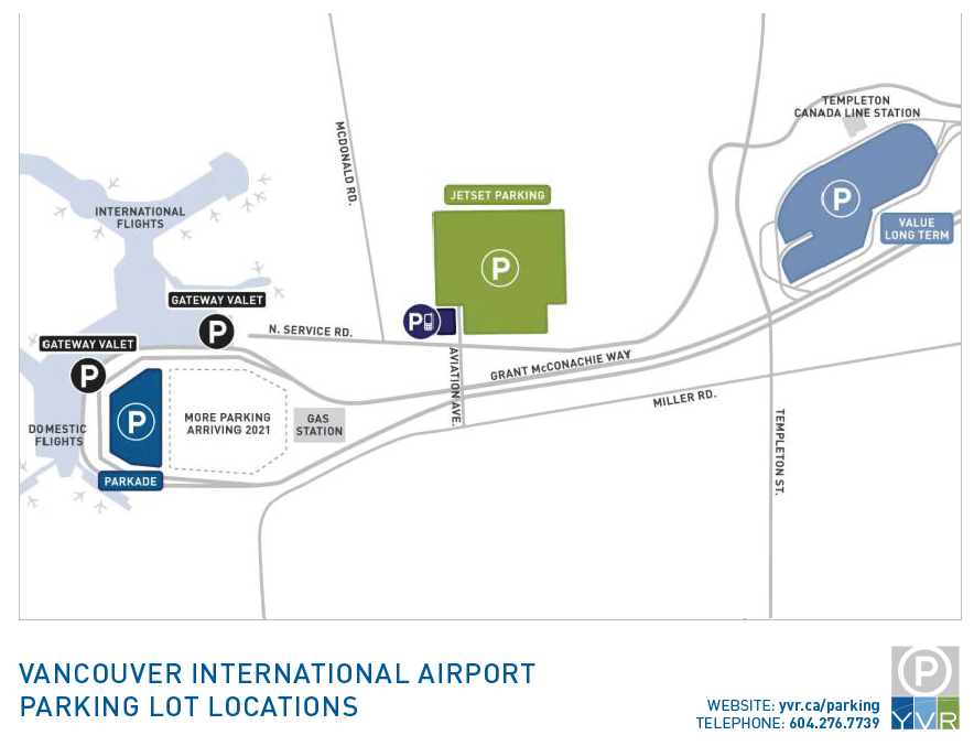 Vancouver International Airport parking lot locations